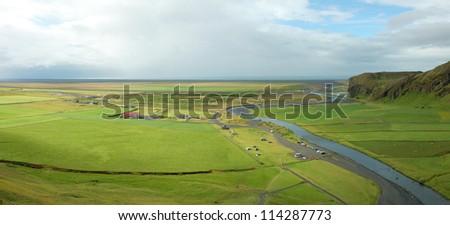 Icelandic landscape near Skogafoss. - stock photo