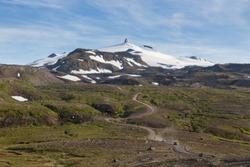 Icelandic landscape. Snaefellsjokull volcano in Iceland. Road to Snaefellsjokull mountain. Snaefellsnes national park.