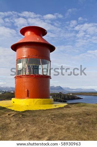 Icelandic lighthouse on the Snaefellsnes peninsula at Stykkisholmur