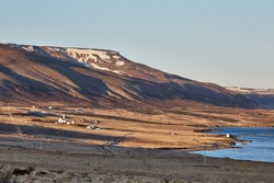 Icelandic scenery near Akranes, mountains, fields, farmland by the shore