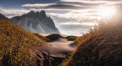 Icelandic Seascape. Wonderful Evening landscape of Vestrahorn Iceland at Stokksnes on the southeastern Icelandic coast. Iceland, Europe. Amazing nature Scenery. Popular Travel destinations
