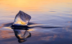 icicle on the ice at sunset