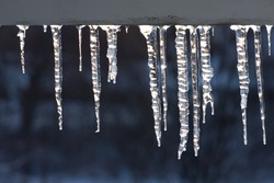 Icicles hanging from gutter