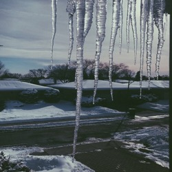 Icicles in the cold winter of Chicago