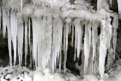 icicles in winter in Italy