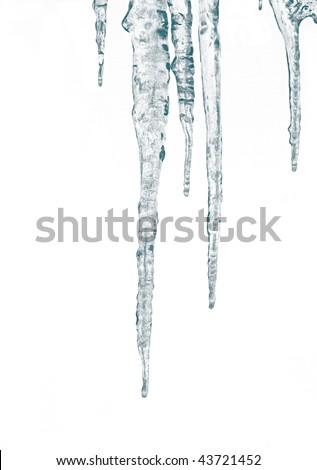 Icicles isolate on a white background