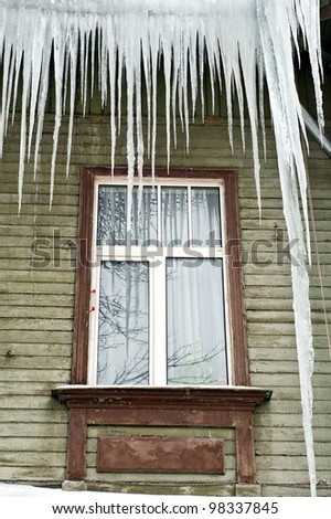 Icicles on the frozen window