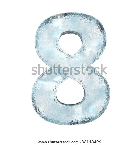 Icing alphabet the number 8 (High definition isolated on white)