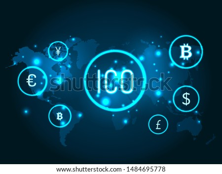Ico and currencies icons with globe map raster. Network and connection between bitcoin, American dollar and euro currency, yen and pound sterling