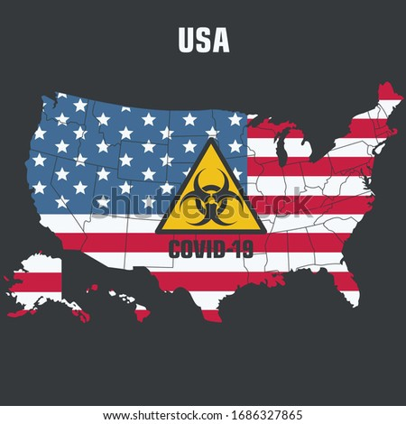 Icon America map textured under flag. Image USA map attention virus sign. Illustration danger Virus hazard America map in flat style