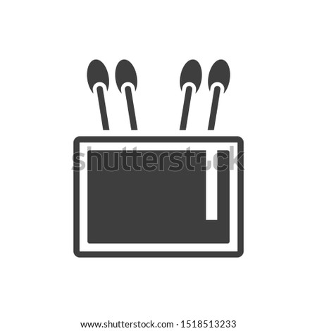 Icon capacity for cotton stick. on a white background