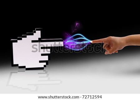 Icon computer cursor and human hand in electrical comunication over gradient black background.