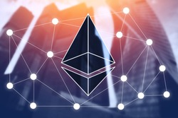 Icon Ethereum crypto currency background of business building. copy space