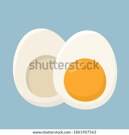 Icon food boiled egg. Stock image sliced boiled egg with yolk
