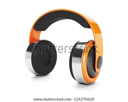 Icon for music. Model of headphones on a white background.
