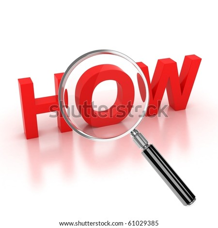 icon - how 3d letters under the magnifier - stock photo