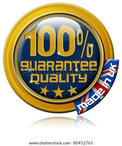 "Icon marked ""100% guarantee quality  made in uk"""