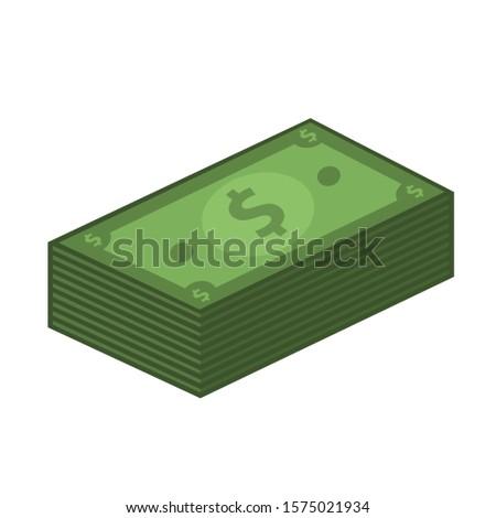 Icon money dollar bills. Image cartoon money dollar bills pack. Illustration money dollar in flat style