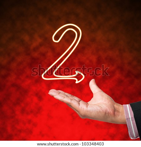 Icon of Alphabet Letter with business hand  on abstract background