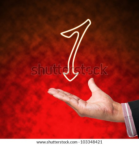 Icon of Alphabet Letter with business hand  on abstract background - stock photo