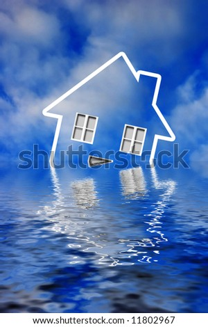 icon of an house sinking under water - concept for mortgage crisis
