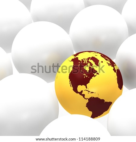 Icon of Earth on background with sphere