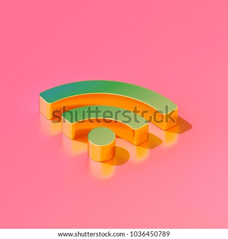 Icon of gold feed (rss) on the candy pink background. 3D illustration of Blog, feed, news, rss isometric icon.
