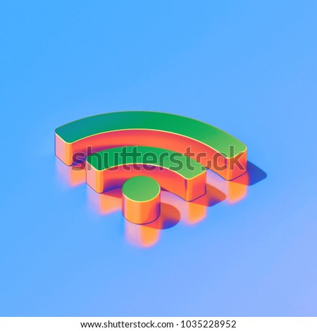 Icon of green feed (rss) on the glossy blue background. 3D illustration of Blog, feed, news, rss isometric icon.