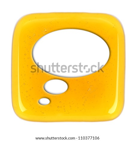 icon of honey drop talk bubble - stock photo