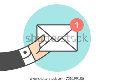 Icon of new mail envelope. White mail envelope with red marker. Hand of businessman holds the one email icon or message. Icon of mail envelope isolated on a blue circle. Illustration