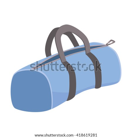 icon of sport bag. Blue bag on white background.