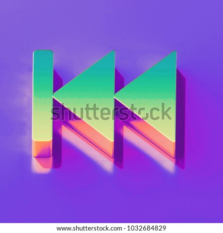 Icon of yellow green arrow fast backward with gold and pink reflection on the glamour purple background. 3D illustration of creative Arrow, audio, back, backward, button, fast, left isometric icon.