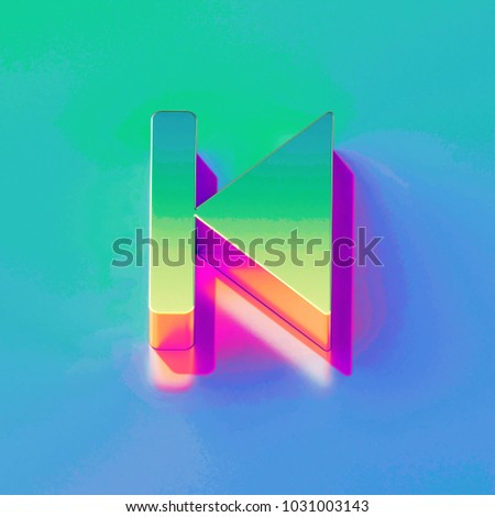 Icon of yellow green arrow step backward with gold and pink reflection on the brilliant blue green background. 3D illustration of network Back, backward, control, step backward isometric icon.
