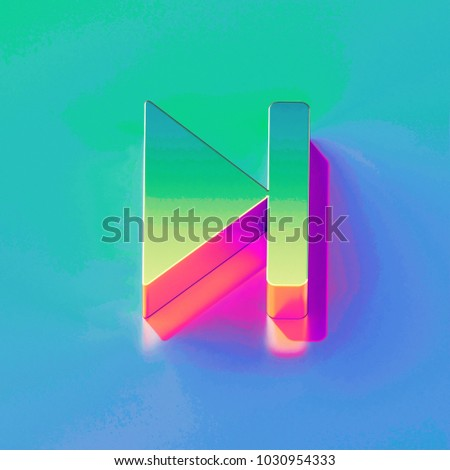 Icon of yellow green arrow step forward with gold and pink reflection on the brilliant blue green background. 3D illustration of network Arrow, forward, move forward, next, next step isometric icon.