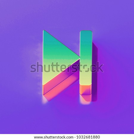 Icon of yellow green arrow step forward with gold and pink reflection on the glamour purple background. 3D illustration of creative Arrow, forward, move forward, next, next step isometric icon.