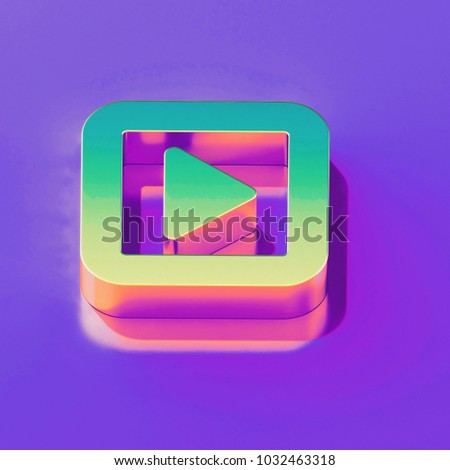 Icon of yellow green caret right in square with gold and pink reflection on the glamour purple background. 3D illustration of creative Arrow, audio, caret, next, play, player, right isometric icon.