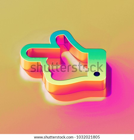 Icon of yellow green hand left with gold and pink reflection on the bright yellow rose background. 3D illustration of graphic Arrow, back, direction, finger, hand, left, navigation isometric icon.