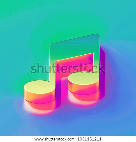 Icon of yellow green music note with gold and pink reflection on the brilliant blue green background. 3D illustration of network Notes, music, Audio isometric icon.