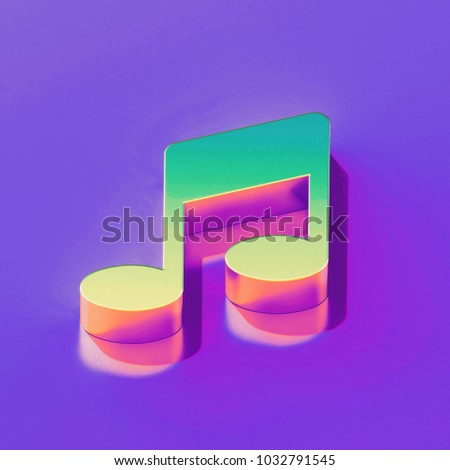 Icon of yellow green music note with gold and pink reflection on the glamour purple background. 3D illustration of creative Notes, music, Audio isometric icon.