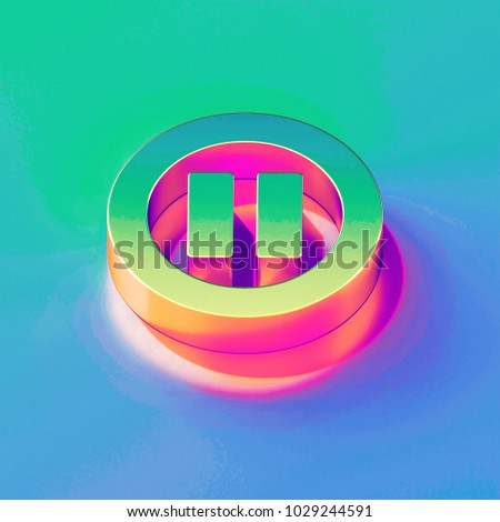 Icon of yellow green pause contour with gold and pink reflection on the brilliant blue green background. 3D illustration of network Audio, button, control, media, pause isometric icon set.