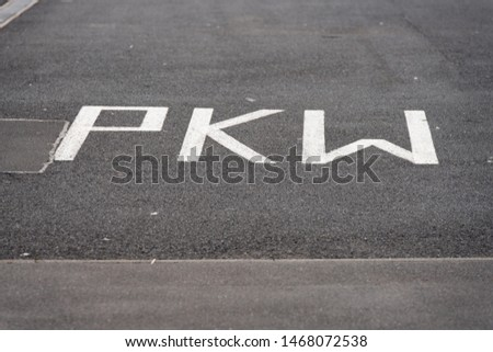 Icon painted on the street to indicate a parking lot #1468072538