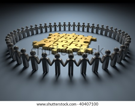 stock photo : Icon people holding hands and forming a circle around a golden