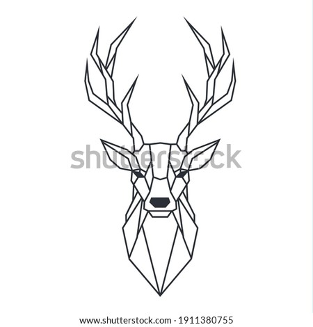 Icon polygonal deer. Image animal triangle art deer with horn