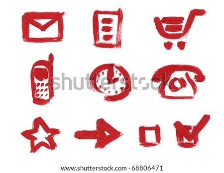Icon set for web site. Mail, File or Data or Document, Shopping Cart, Mobile phone, Clock, Old Style Phone, Favorites, Arrow, Check Box empty, Checked box. Red Brush paint sketch hand drawn on paper.