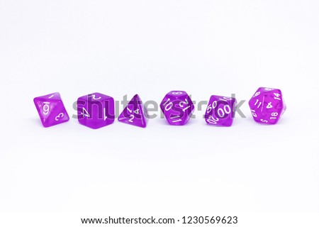 Icon set of dice for fantasy dnd and rpg tabletop games. Board game polyhedral dices with different sides isolated on white background #1230569623