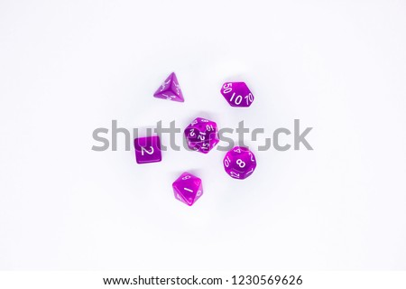 Icon set of dice for fantasy dnd and rpg tabletop games. Board game polyhedral dices with different sides isolated on white background #1230569626