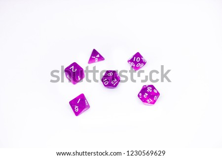Icon set of dice for fantasy dnd and rpg tabletop games. Board game polyhedral dices with different sides isolated on white background #1230569629