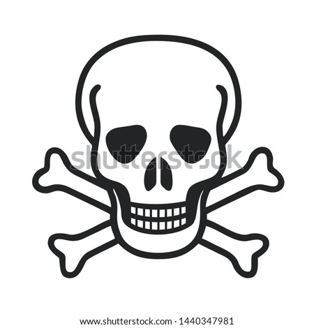 Icon sign skull. Illustration of a toxic skull symbol sign in flat minimalism style.