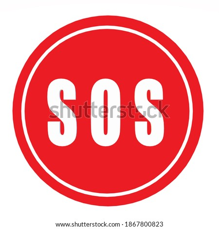 Icon sign symbol SOS. Image red round sign SOS. Illustration sticker sign symbol SOS signal in flat style Stockfoto ©