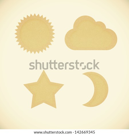 Icon star,sun,moon,cloud,recycled papercraft on vintage tone  background